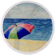 Beach Umbrella Round Beach Towel by Jamie Frier