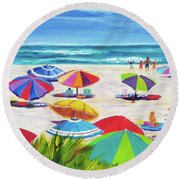 Umbrellas 2 Round Beach Towel