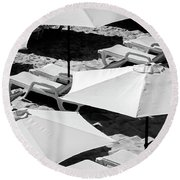 Round Beach Towel featuring the photograph Beach Umbrellas by Marion McCristall