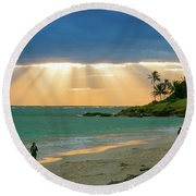 Beach Walk At Sunrise Round Beach Towel