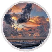 Beach Walk - Florida Seascape Round Beach Towel
