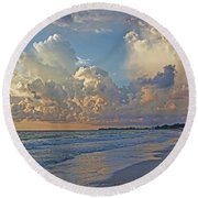 Beach Walk Round Beach Towel by HH Photography of Florida
