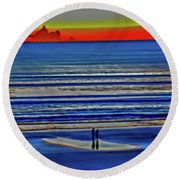 Beach Walking At Sunrise Round Beach Towel