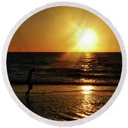 Round Beach Towel featuring the photograph Beach Walking by Gary Wonning