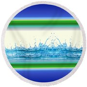Beach Water Splash Round Beach Towel