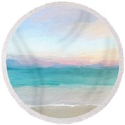 Beach Watercolor Sunrise Round Beach Towel