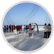 Beach Wedding In Kenya Round Beach Towel