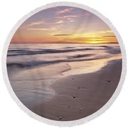 Beach Welcoming Twilight Round Beach Towel