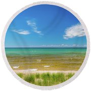 Beach With Blue Skies And Cloud Round Beach Towel