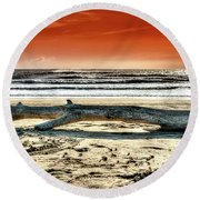 Beach With Wood Trunk - Spiaggia Con Tronco IIi Round Beach Towel
