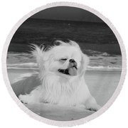 Beachbum Black And White Round Beach Towel