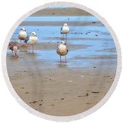 Round Beach Towel featuring the photograph Beachcombers by Jerry Sodorff