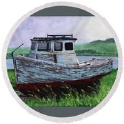 Beached At Bay Of Ayre Round Beach Towel