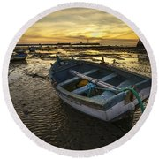 Beached Boat On La Caleta Cadiz Spain Round Beach Towel