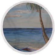 Round Beach Towel featuring the painting Beached by Debbie Baker