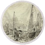 Beached Fishing Boats With Fishermen Mending Nets On The Beach At Brighton, Looking West Round Beach Towel