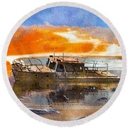 Beached Wreck Round Beach Towel