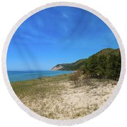 Round Beach Towel featuring the photograph Beaches And Bluffs by Rachel Cohen
