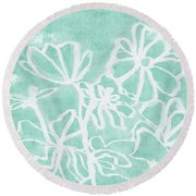 Round Beach Towel featuring the mixed media Beachglass And White Flowers 2- Art By Linda Woods by Linda Woods