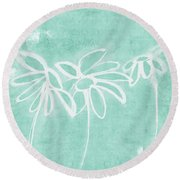 Round Beach Towel featuring the mixed media Beachglass And White Flowers 3- Art By Linda Woods by Linda Woods