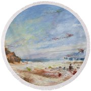 Beachy Day - Impressionist Painting - Original Contemporary Round Beach Towel