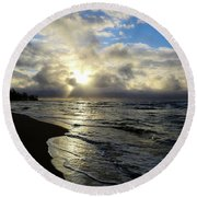 Beachy Morning Round Beach Towel
