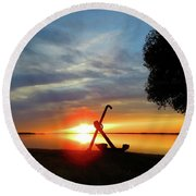 Beadles Point Sunset Round Beach Towel