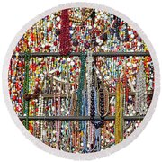 Beads In A Window Round Beach Towel