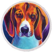 Beagle - Chester Round Beach Towel