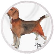 Beagle Watercolor Painting By Kmcelwaine Round Beach Towel