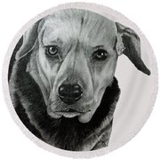 Beagle-shepherd Mix Round Beach Towel by Terri Mills