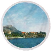 Round Beach Towel featuring the painting Bealieu - The Bay Of Fourmis by Eugene Boudin