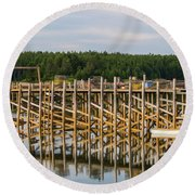 Beals Island, Maine  Round Beach Towel by Trace Kittrell