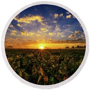 Bean Field Dawn Round Beach Towel