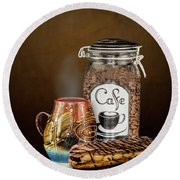 Beans To Cup Round Beach Towel by Shirley Mangini