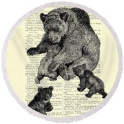 Bear And Cubs Black And White Antique Illustration Round Beach Towel