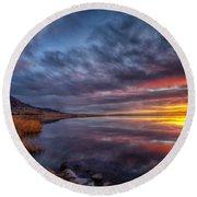 Bear Butte Lake Sunrise Round Beach Towel