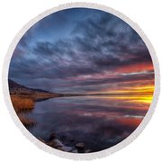 Round Beach Towel featuring the photograph Bear Butte Lake Sunrise by Fiskr Larsen