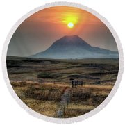 Round Beach Towel featuring the photograph Bear Butte Smoke by Fiskr Larsen