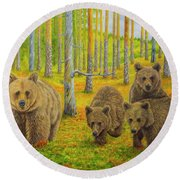 Bear Family Round Beach Towel