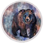 Bear In Color Round Beach Towel