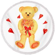 Round Beach Towel featuring the painting Bear In Love by Elizabeth Lock