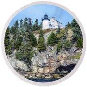 Bear Island Lighthouse Round Beach Towel