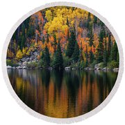 Bear Lake Autumn Reflections Round Beach Towel