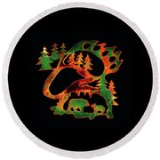 Emerald Bear Paw  Round Beach Towel