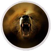 Bear Roar Round Beach Towel by Lilia D