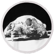 Bear Skull Round Beach Towel