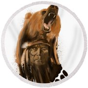 Bear Spirit  Round Beach Towel
