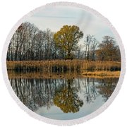 Bear Swamp Mirror Round Beach Towel by Jennifer Nelson