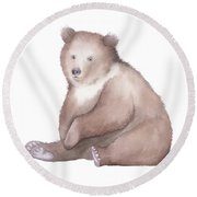 Bear Watercolor Round Beach Towel